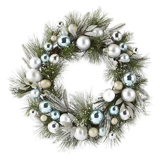 North Pole Trading Co. Blue And Silver Ornament & Pine Wreath