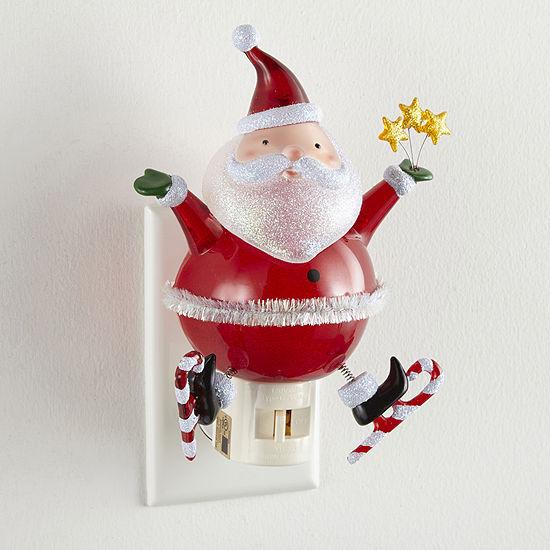 "North Pole Trading Co. 6.25"" Bobble Head Santa Night Light"