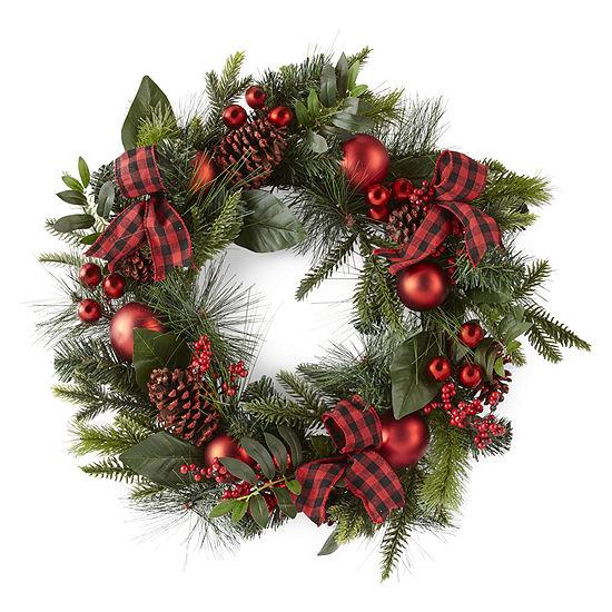 North Pole Trading Co. Buffalo Check Pre-Lit Wreath