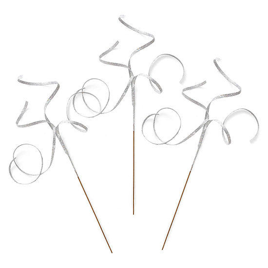 North Pole Trading Co. Set Of 3 Long Glitter Curl Pick