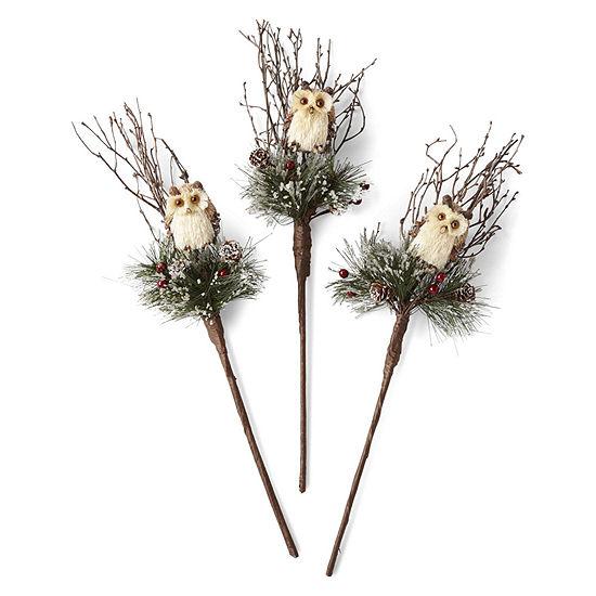 North Pole Trading Co. Set Of 3 Woodland Owl Pick