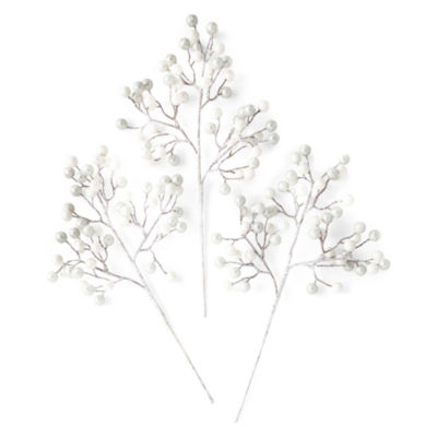 North Pole Trading Co. Set Of 3 Silver White Berries Pick