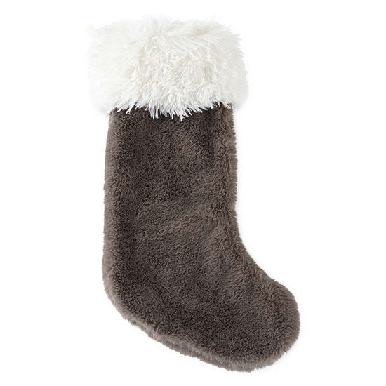 North Pole Trading Co. Gray Fur Trimmed Christmas Stocking