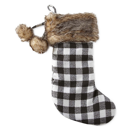 North Pole Trading Co. Buffalo Check With Fur Cuff Christmas Stocking