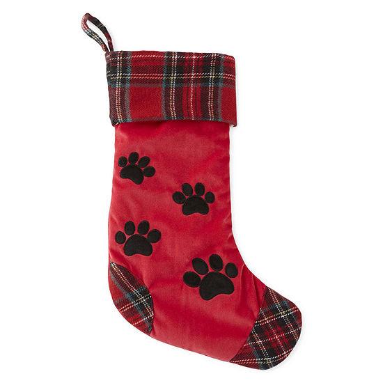 North Pole Trading Co. Pawprint Pet Christmas Stocking