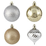 North Pole Trading Co. 60-Pc Silver & Gold Boxed Ornament Set Gilded Nature 60-pc. Christmas Ornament