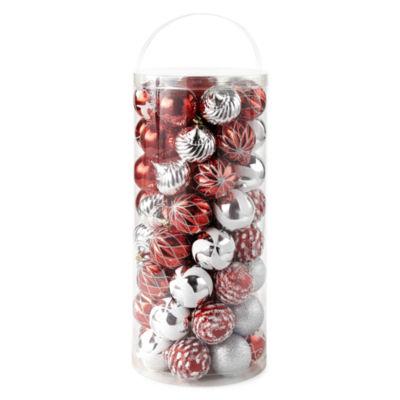 North Pole Trading Co. 60-Pc Red Green Silver Boxed Ornament Set Ornament