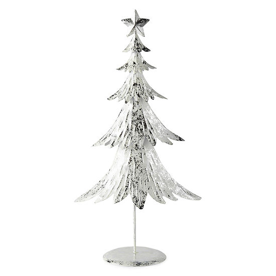 North Pole Trading Co. Snowy Day Metal Flocked Tree Tabletop Decor