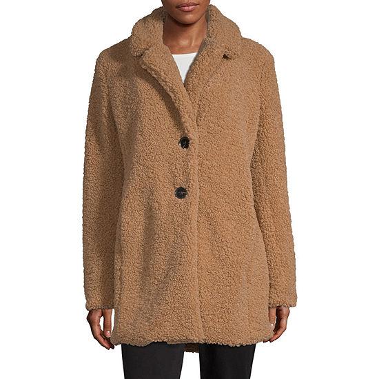 Liz Claiborne Sherpa Lightweight Faux Fur Coat