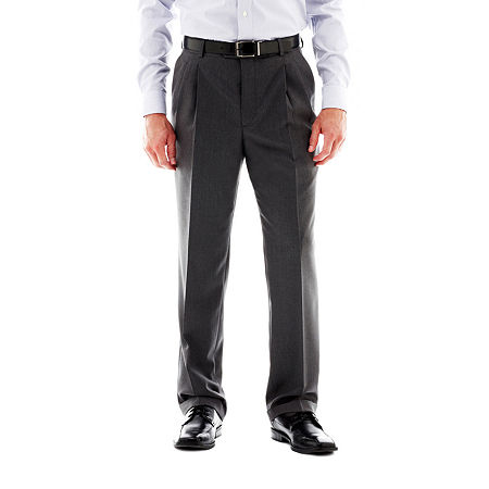 Stafford Travel Pleated Suit Pants - Classic, 44 30, Gray
