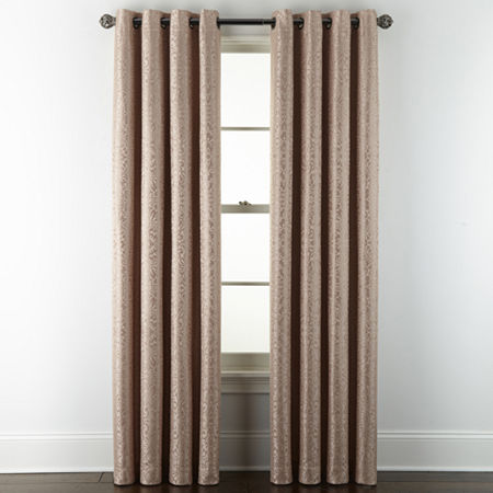 JCPenney Home Plaza Tapestry Blackout Grommet-Top Single Curtain Panel, One Size , Pink