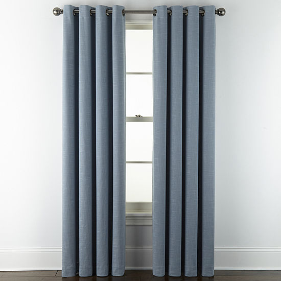 Liz Claiborne Holland Linen 100% Blackout Grommet-Top Single Curtain Panel