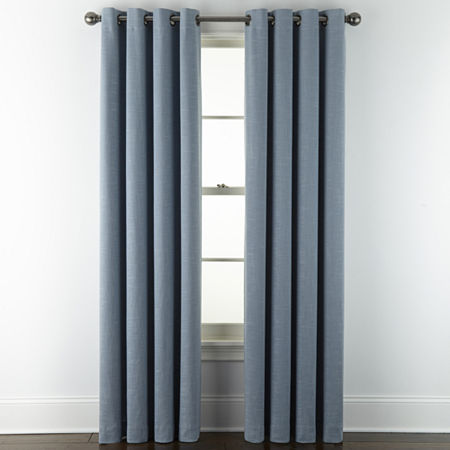 Liz Claiborne Holland Linen 100% Blackout Grommet-Top Single Curtain Panel, One Size , Blue