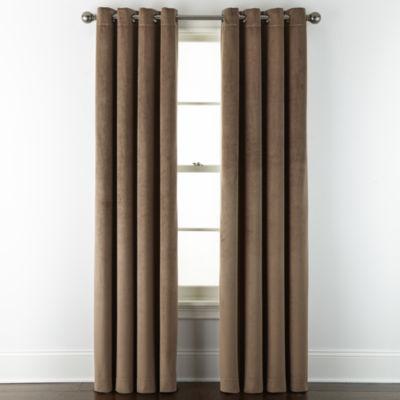 Liz Claiborne Holland Velvet 100% Blackout Grommet-Top Single Curtain Panel