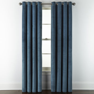 Liz Claiborne Holland Velvet 100% Blackout Grommet-Top Single Curtain Panel