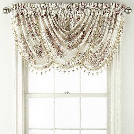 JCPenney Home Hilton Medallion Rod-Pocket Waterfall Valance