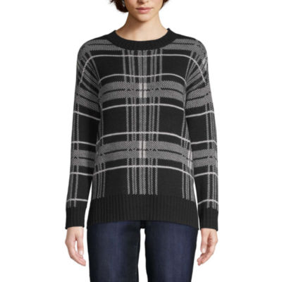 St. John's Bay Womens Crew Neck Long Sleeve Plaid Pullover Sweater