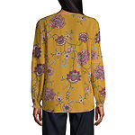 St. John's Bay Womens Square Neck Long Sleeve Floral Blouse
