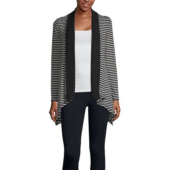 Liz Claiborne Weekend Womens Long Sleeve Open Front Striped Cardigan