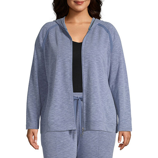 St. John's Bay Active French Terry Hooded Midweight Track Jacket-Plus