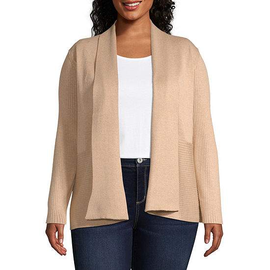 Liz Claiborne Long Sleeve Shawl Collar Cardigan - Plus