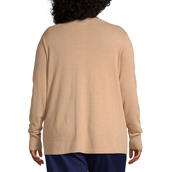 Liz Claiborne Simply Long Sleeve Button Shoulder Sweater - Plus