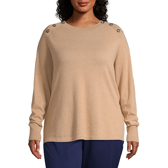 Liz Claiborne Simply Long Sleeve Button Shoulder Sweater - Plus