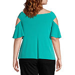 Bold Elements-Plus Womens Round Neck Elbow Sleeve Blouse