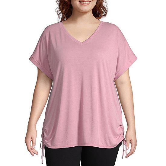 Xersion-Womens V Neck Short Sleeve T-Shirt Plus