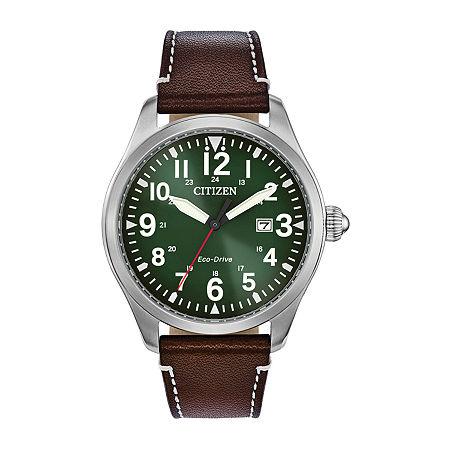 Citizen Chandler Mens Brown Leather Strap Watch Bm6838-09x, One Size
