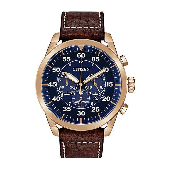 Citizen Avion Mens Chronograph Brown Leather Strap Watch-Ca4213-18l