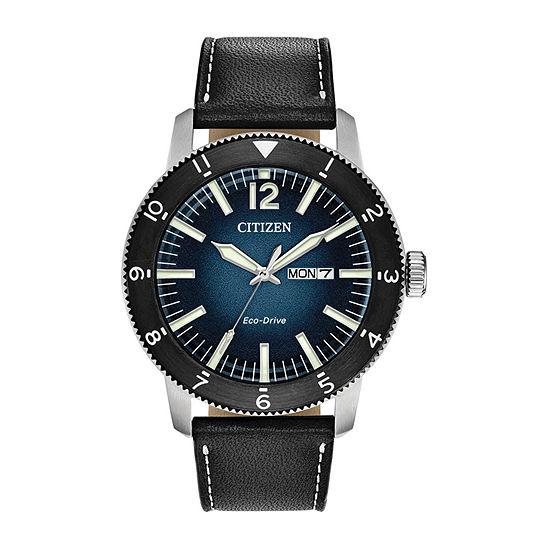 Citizen Brycen Mens Black Leather Strap Watch-Aw0078-08l