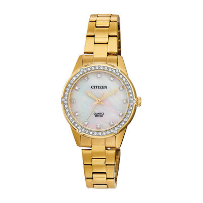 Citizen Womens Crystal Accent Gold Tone Stainless Steel Bracelet Watch Er0222-56d