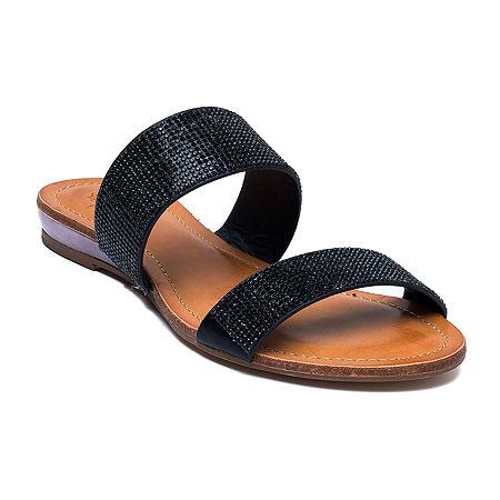 GC Shoes Womens Manarola Flat Sandals, 6 1/2 Medium, Black