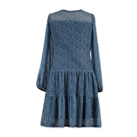 Vintage Style Children's Clothing: Girls, Boys, Baby, Toddler Speechless Big Girls Long Balloon Sleeve Drop Waist Dress 8  Blue $23.14 AT vintagedancer.com