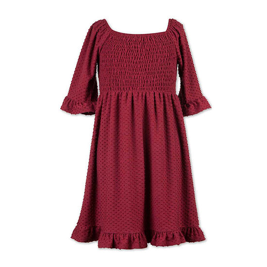 Speechless Big Girls Elbow Fitted Sleeve Babydoll Dress