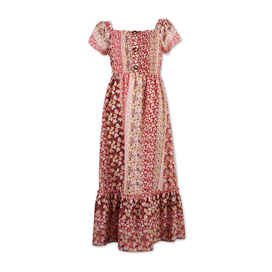 Speechless Big Girls Short Cap Sleeve Floral Maxi Dress
