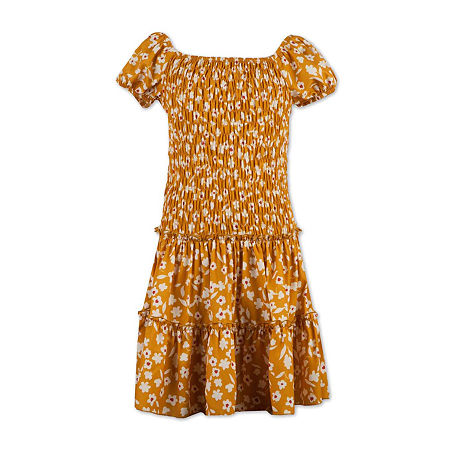 60s 70s Kids Costumes & Clothing Girls & Boys Speechless Big Girls Short Cap Sleeve Drop Waist Dress 10  Yellow $17.39 AT vintagedancer.com