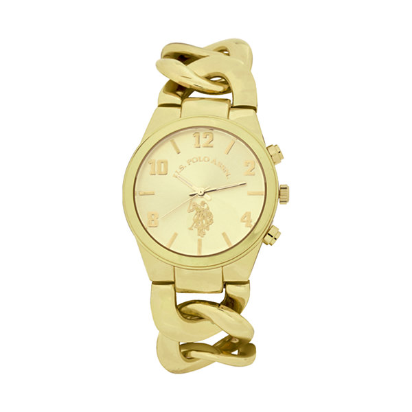 U.S. Polo Assn. Womens Gold Tone Bracelet Watch-Usc40069jc