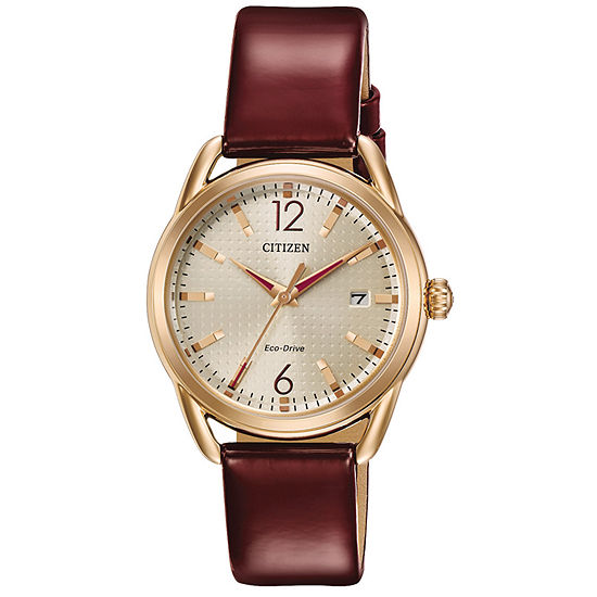 Drive from Citizen Red Leather Strap Watch-Fe6083-05p