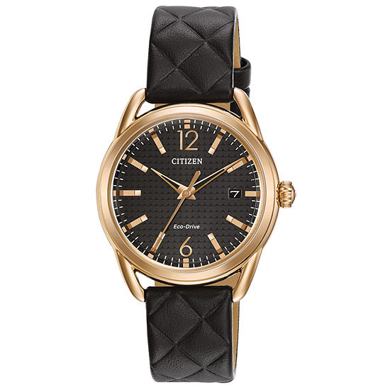 Drive from Citizen Womens Black Leather Strap Watch-Fe6083-13e