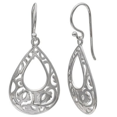 Silver Treasures White Drop Earrings