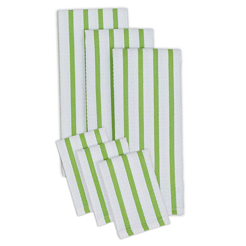 Design Imports Set of 3 Heavyweight Kitchen Towels and Set of 3 Dishcloths