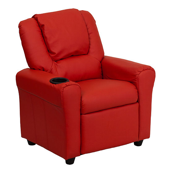 Contemporary Kids Recliner with Cup Holder and Headrest
