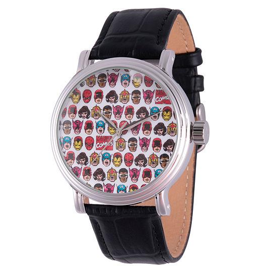 Marvel Comics Marvel Mens Black Leather Strap Watch-Wma000046