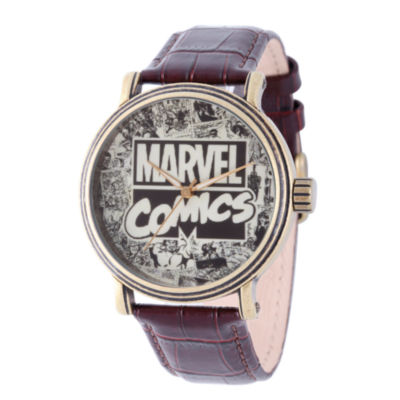Comics Marvel Mens Brown Strap Watch-Wma000047