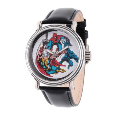 Comics Marvel Mens Black Strap Watch-Wma000048