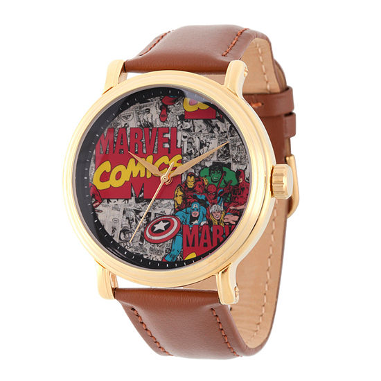Comics Marvel Mens Brown Leather Strap Watch-Wma000049