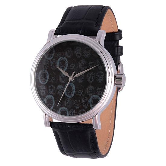 Marvel Comics Marvel Mens Black Leather Strap Watch-Wma000050