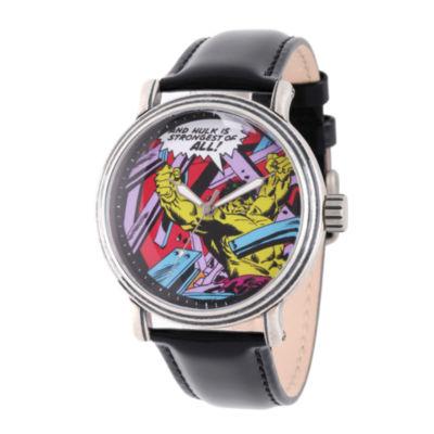 Comics Marvel Mens Black Strap Watch-Wma000051